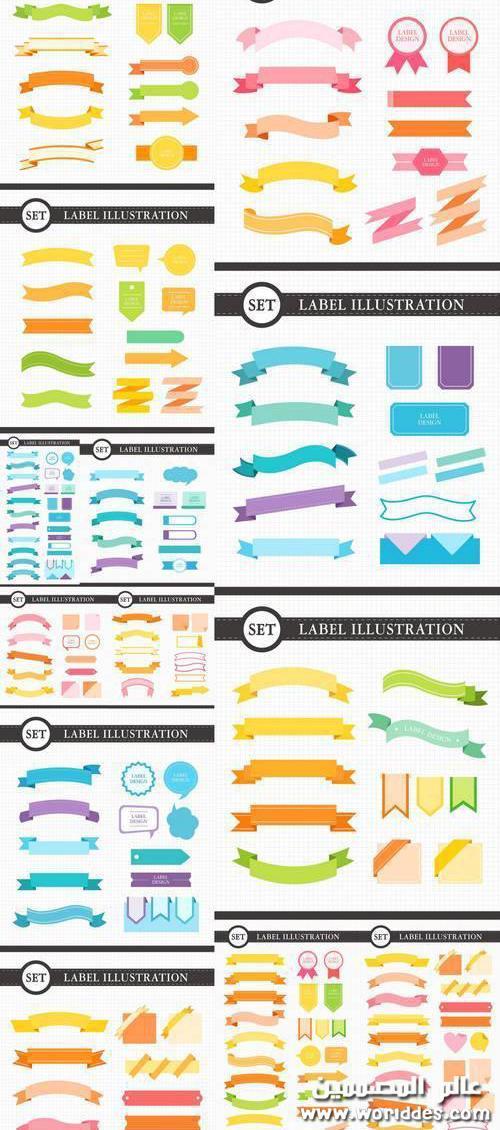 ملصقات للعناوين متعددة الاشكال والالوان