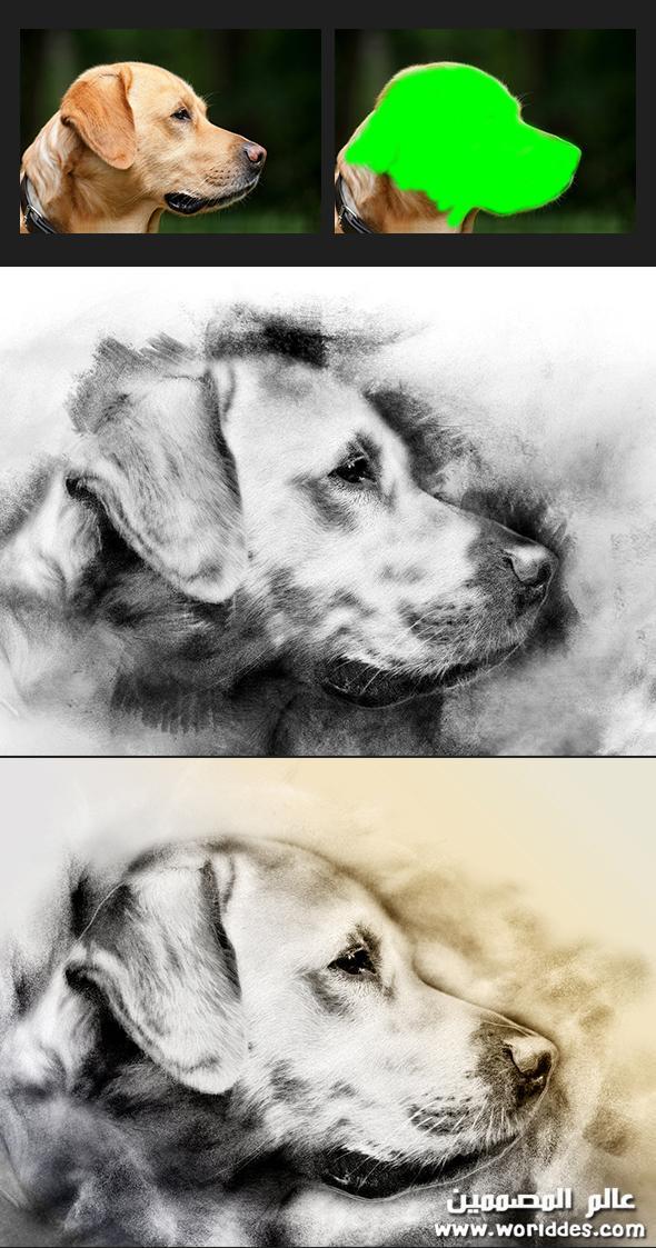 اكشن الرسم بالفحم للصور مميز