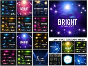 Realistic lens flare elements collection, light effect transparent design
